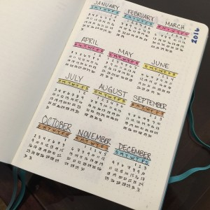 Year-at-a-glance calendar in my Bullet Journal, color-coded to match the seasons.