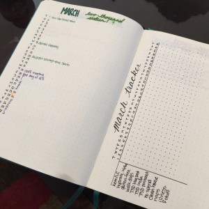 March 2016 Bullet Journal spread. Monthly layout and a tracker for repetitive tasks.